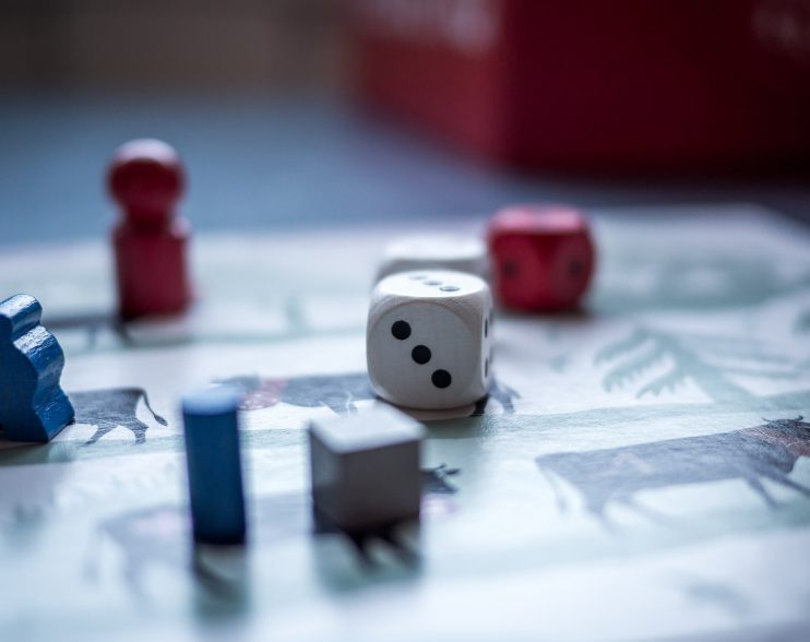 plansza do gry planszowej z pinkami i kostką, rozłożona, w trakcie rozrywki